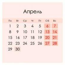 Апрель 2020 года в России: календарь, праздники, выходные