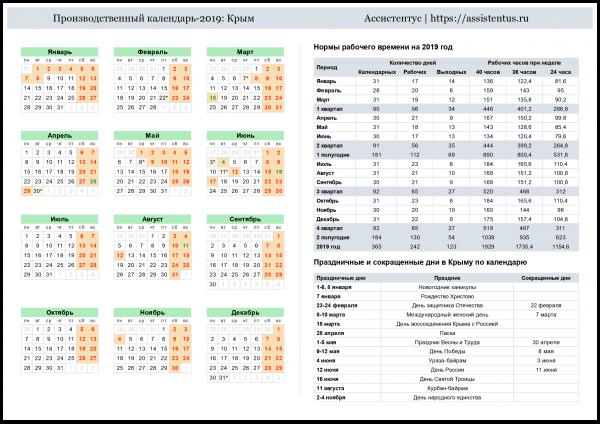 Производственный календарь на 2019 год республика крым